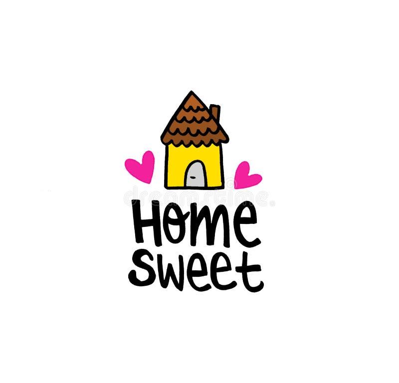 Message heureux à la maison doux à la maison illustration stock
