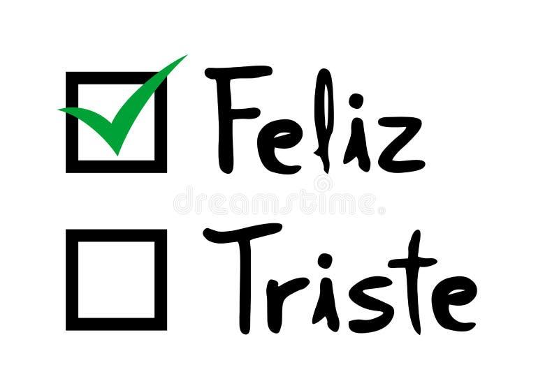 Message heureux choisi dans la langue espagnole illustration libre de droits