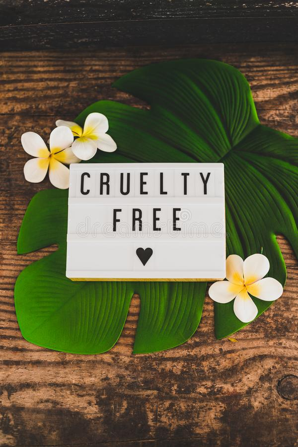 Message libre de cruauté sur des produits et l'éthique de vegan de lightbox photos stock