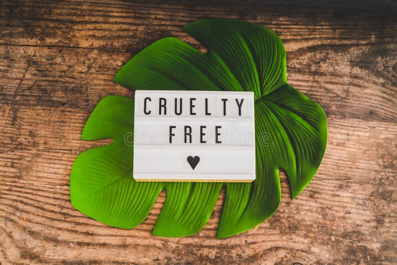 Message libre de cruauté sur des produits et l'éthique de vegan de lightbox photo libre de droits