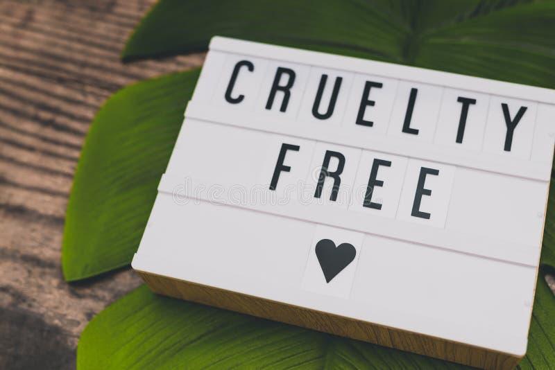 Message libre de cruauté sur le lightbox avec la feuille et le bois, concept de l'éthique de vegan photos stock