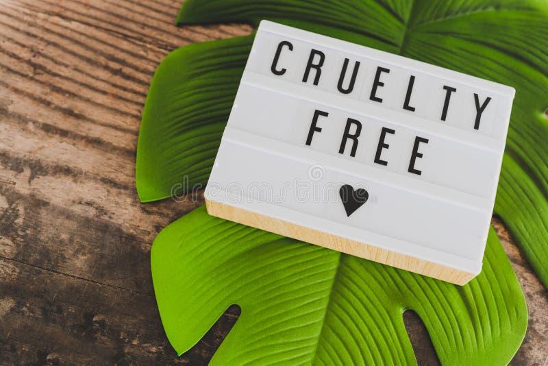 Message libre de cruauté sur le lightbox avec la feuille et le bois, concept de l'éthique de vegan images libres de droits