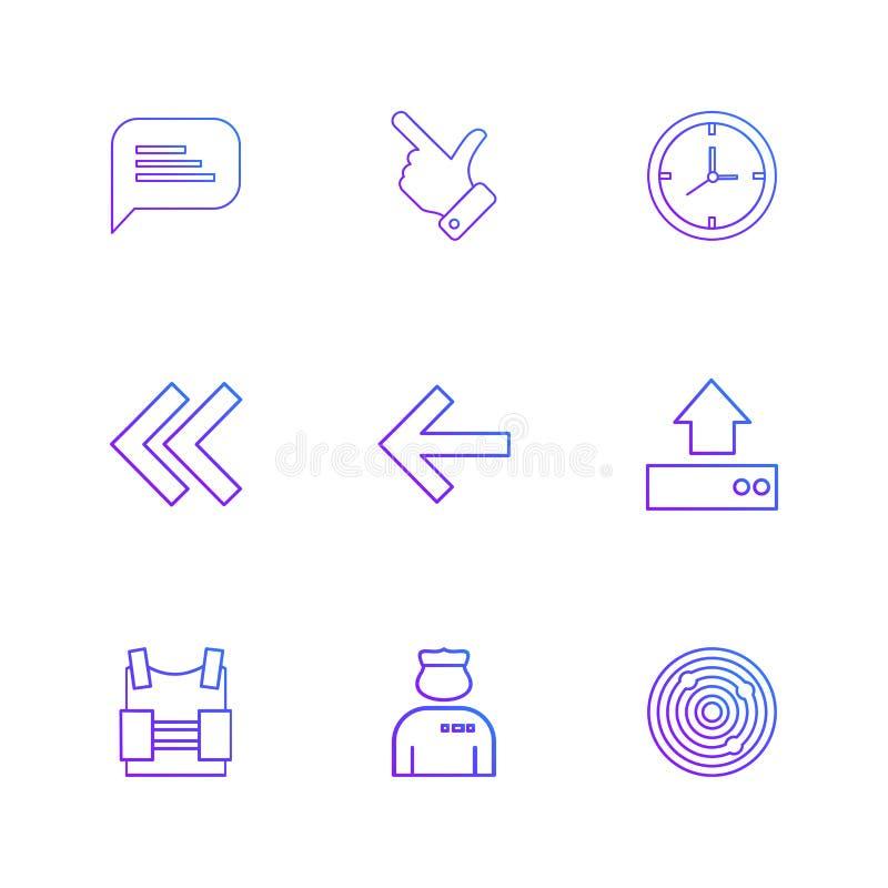 message , like, compass, left , rewind, upload, bag , doctor , vector illustration