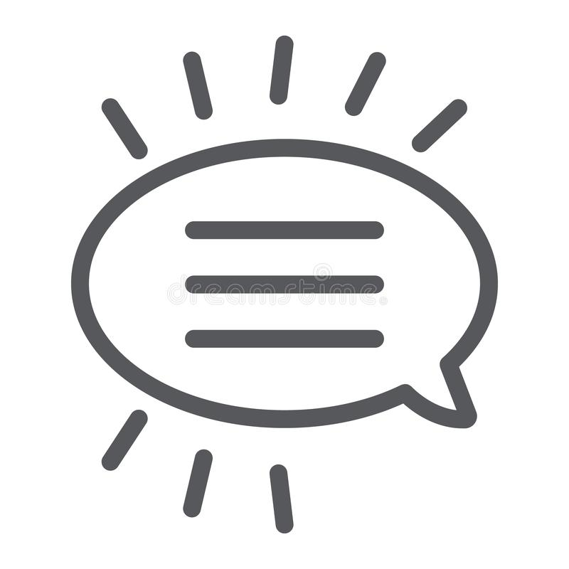 Message line icon, chat and dialog, bubble speech sign, vector graphics, a linear pattern on a white background. royalty free illustration