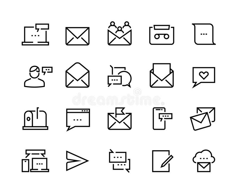Message line icons. Email and text communication, phone message and online notification. Vector mobile conversation icon. Set for receive newsletter or mail vector illustration