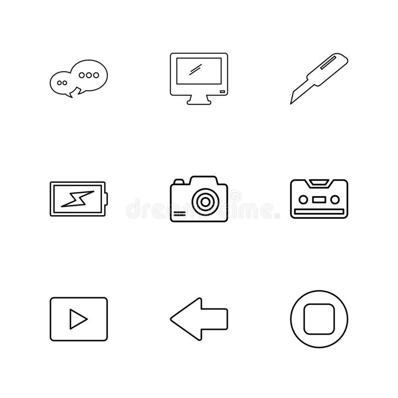 Message , monitor , cutter , battery , click , casette , play ,youtube , left ,arrow , stop , eps icons set vector. Message , monitor , cutter , battery , click royalty free illustration