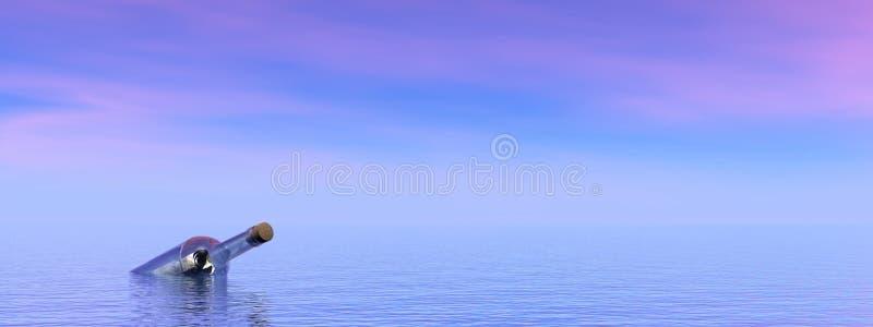 Message perdu dans l'océan illustration libre de droits