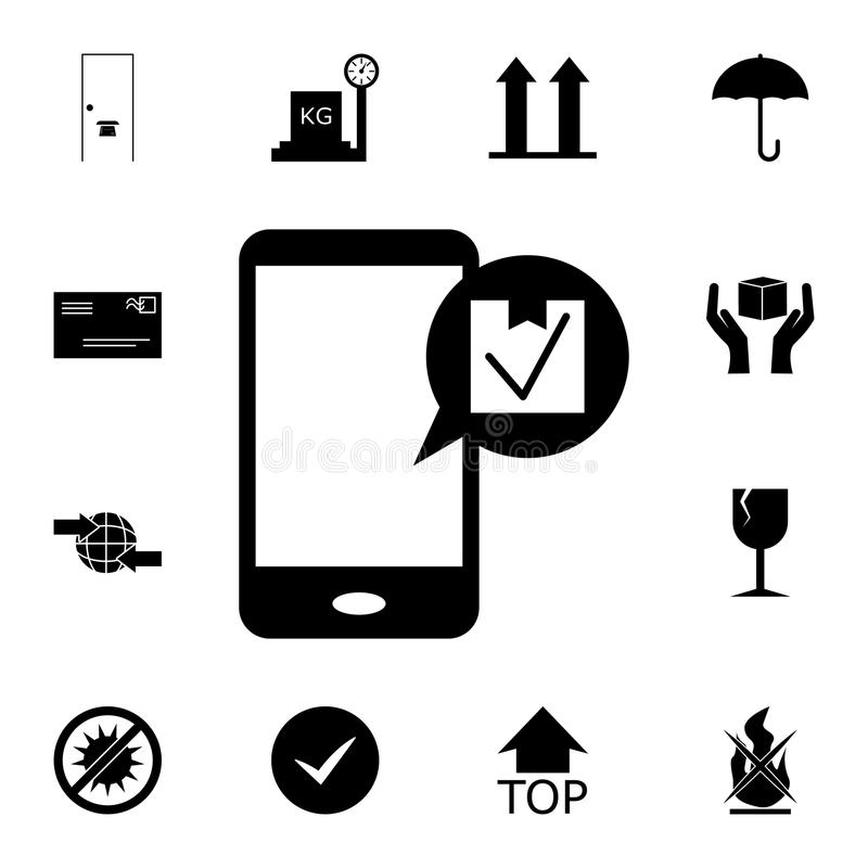 Message on the phone about the delivery of goods icon. Detailed set of logistic icons. Premium quality graphic design icon. One of. The collection icons for stock illustration