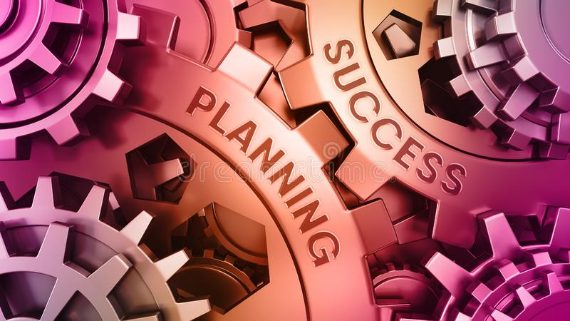 Message Planning Success on the Metal Gears - Business Concept. Training And Development on Mechanism of Metal Gears. royalty free stock photography