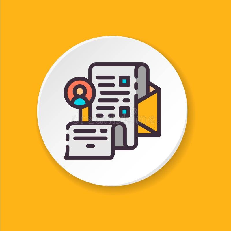 Message privé d'icône plate de vecteur Bouton pour le Web ou l'APP mobile illustration de vecteur