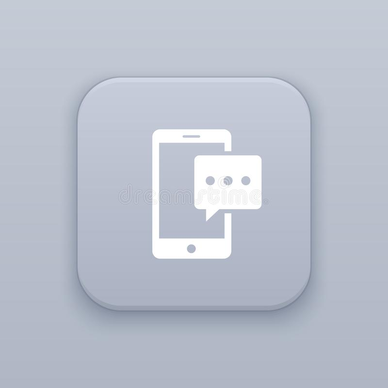 Message on the smartphone, gray vector button with white icon on gray background royalty free illustration