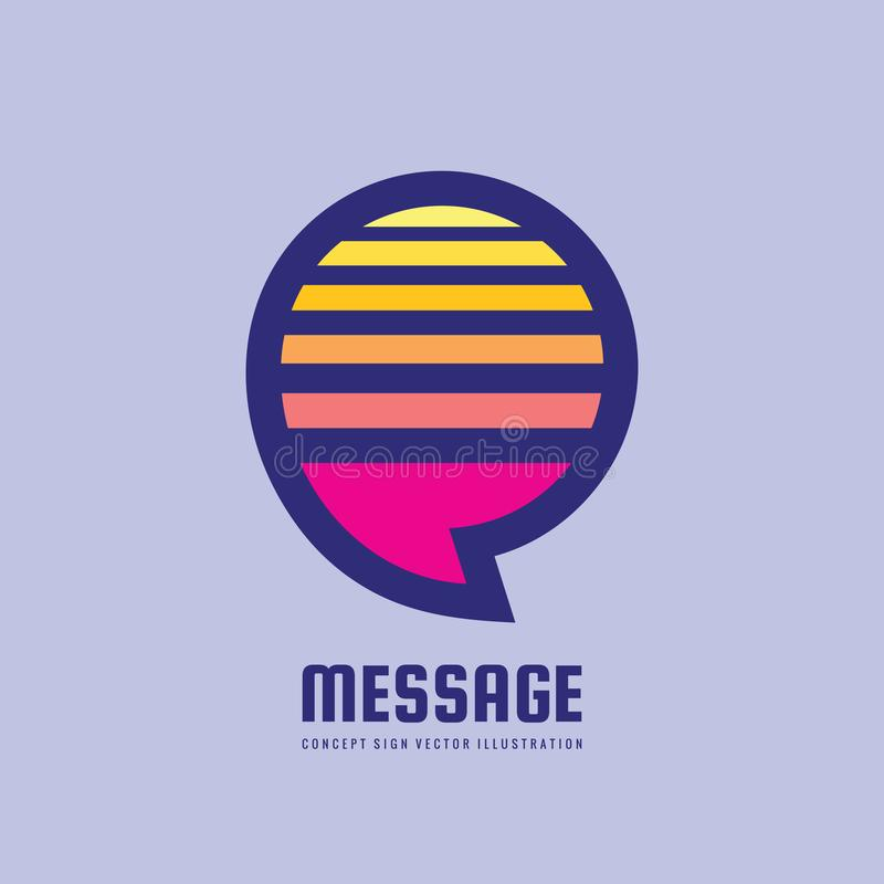 Message - speech bubbles vector logo concept illustration in flat style. Dialogue talking icon. Chat sign. Social media symbol. stock illustration