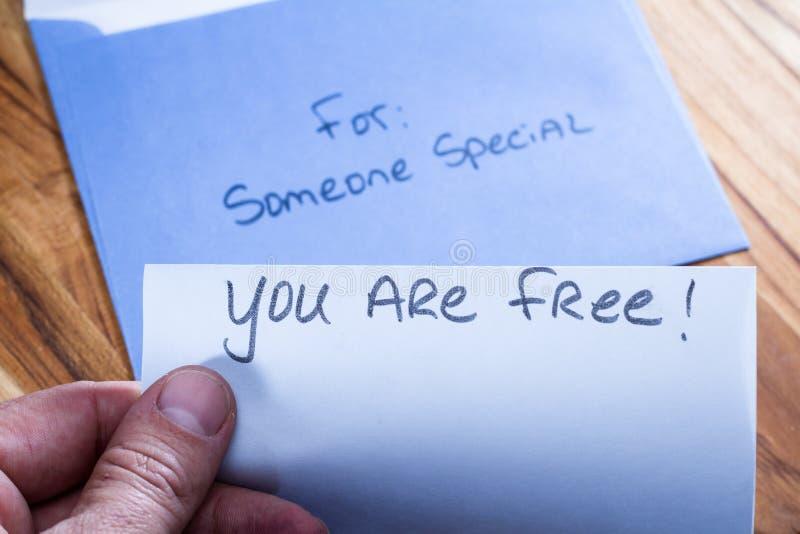 Message spirituel dans le courrier photo stock