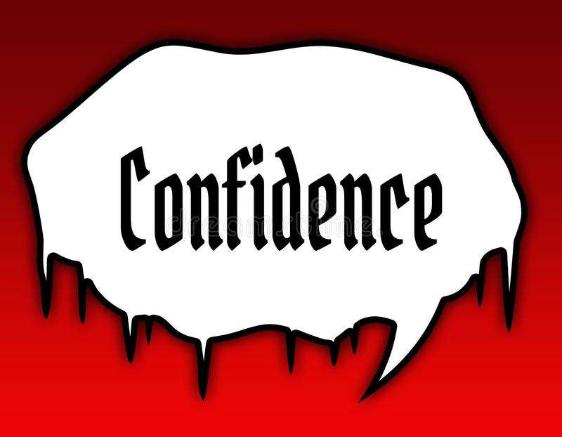 Message textuel de bulle de la parole d'horreur avec confiance Fond rouge illustration stock