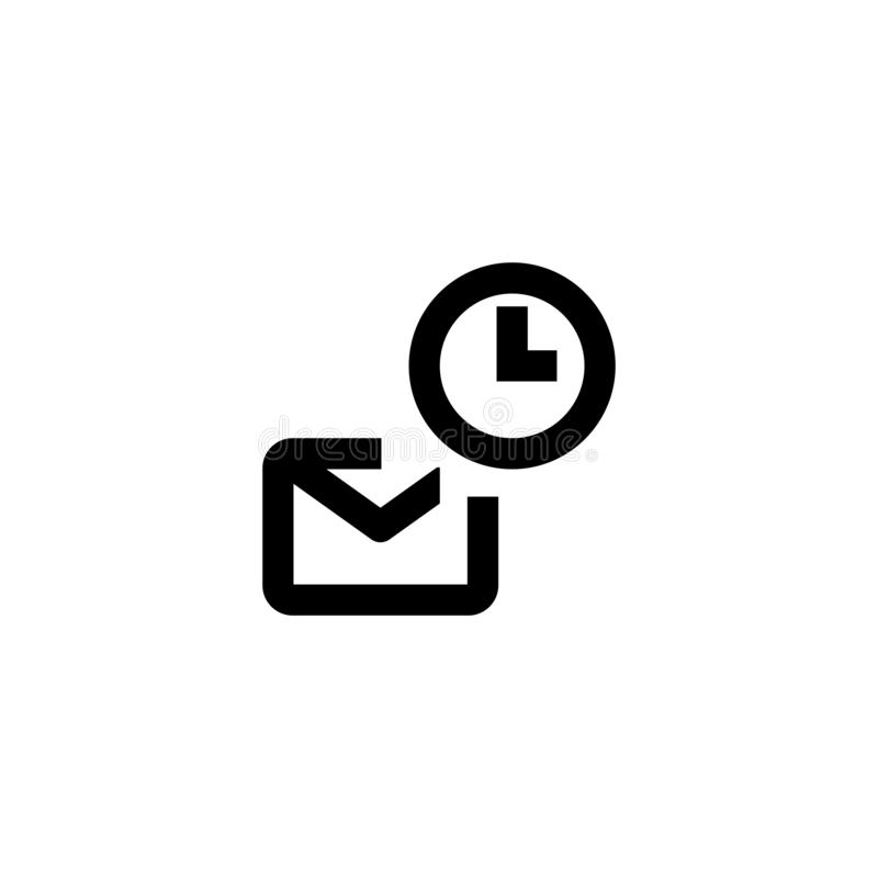 Message and watch icon. Send mail sign. Message, icon, watch, smart, clock, time, technology, vector, screen, device, interface, wireless, communication stock illustration
