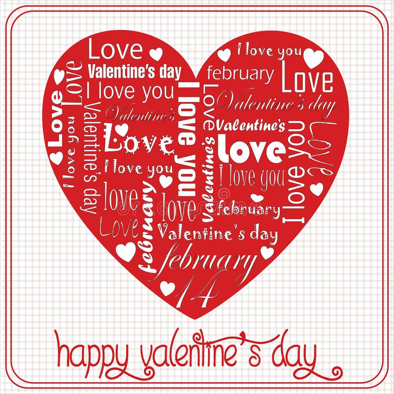 Message of white love on Valentine`s special heart Day royalty free illustration