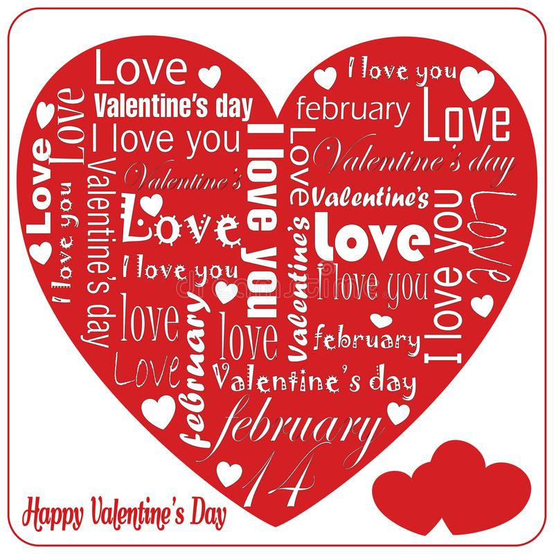 Message of white love on Valentine`s special heart Day stock illustration