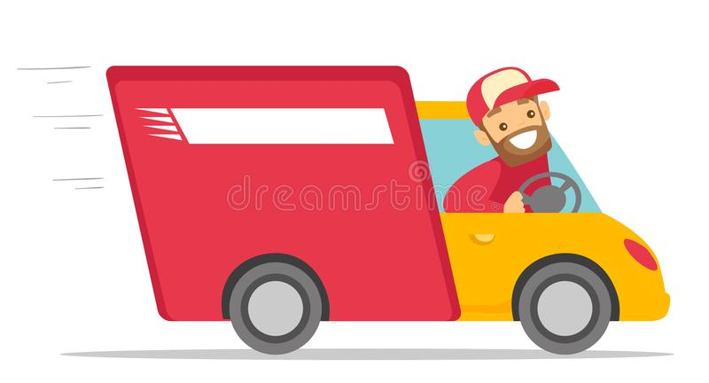 Messager blanc caucasien conduisant un camion de livraison illustration libre de droits