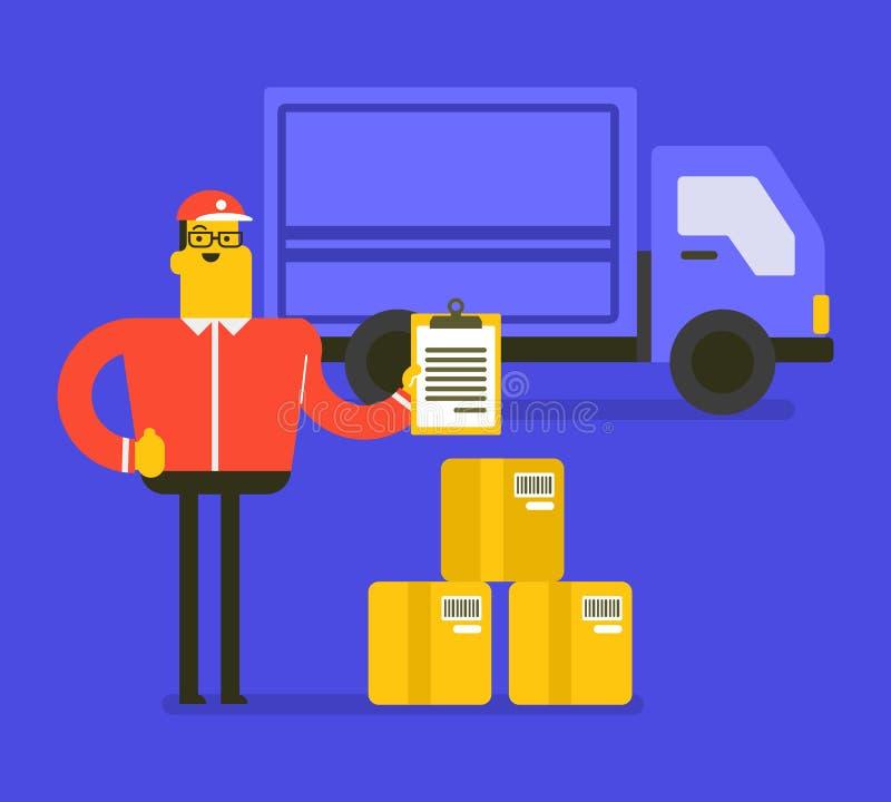 Messager caucasien de la livraison avec des boîtes en carton illustration de vecteur