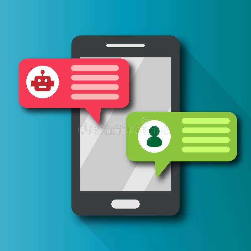 Messager d'alerte de bulle d'avis de Chatbot avec la technologie des communications personnelle d'utilisateur au téléphone portab illustration stock