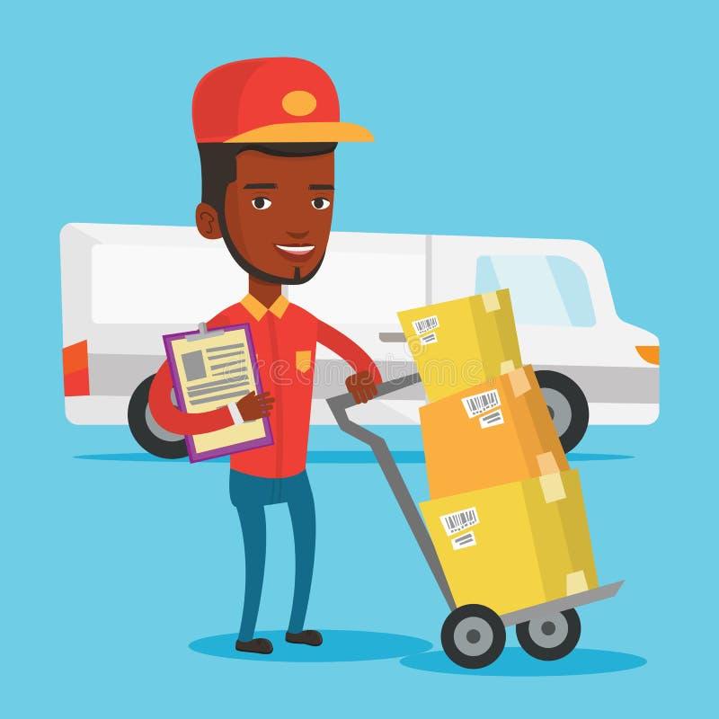 Messager de la livraison avec des boîtes en carton illustration libre de droits