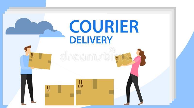 Messager Delivery Un homme et une femme plient des colis La livraison des marchandises par le messager Illustration de vecteur illustration de vecteur
