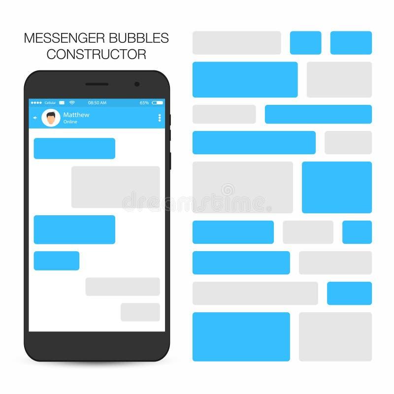 Messager et concept social de réseau La parole bouillonne constructeur illustration stock