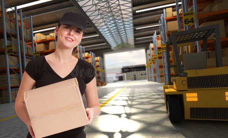 Messager femelle au centre de transport images libres de droits