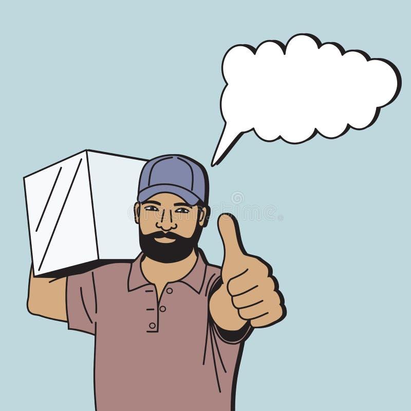 """Messager masculin fonctionnant portant une boîte sur son épaule et montrant un geste """"correct, conception de bande dessinée illustration de vecteur"""