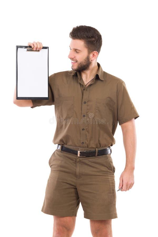 Messager montrant un presse-papiers image stock