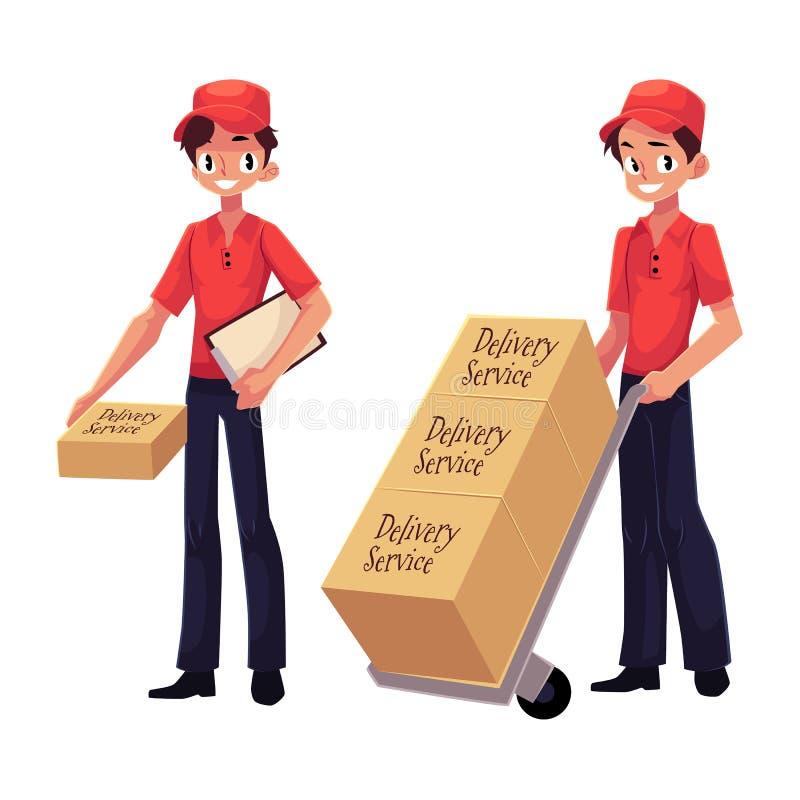 Messager, travailleur de service de distribution tenant le paquet, poussant le chariot avec des boîtes illustration de vecteur