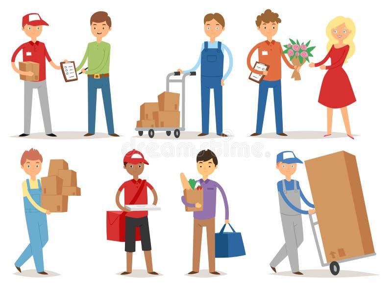 Messagers de travailleurs de service de garçon de livraison livrant des facteurs de boutique de caractères d'homme apportant des  illustration stock