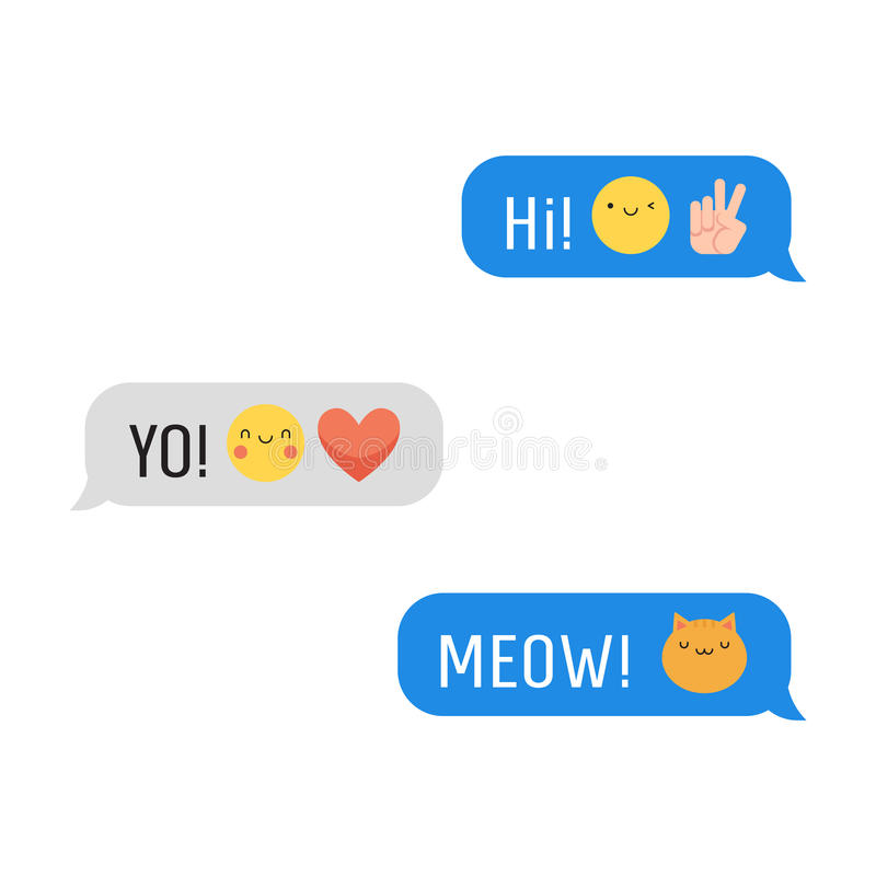 Messages avec l'emoji et le texte mignons Partie une illustration stock