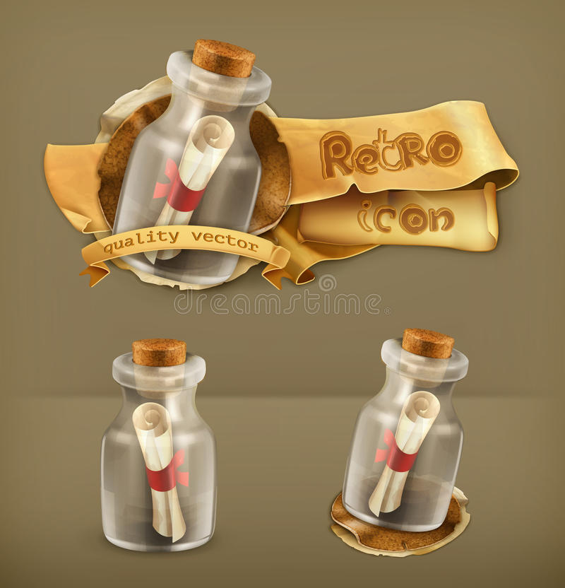 Messages in bottles icons. Messages in bottles vector illustration icons stock illustration