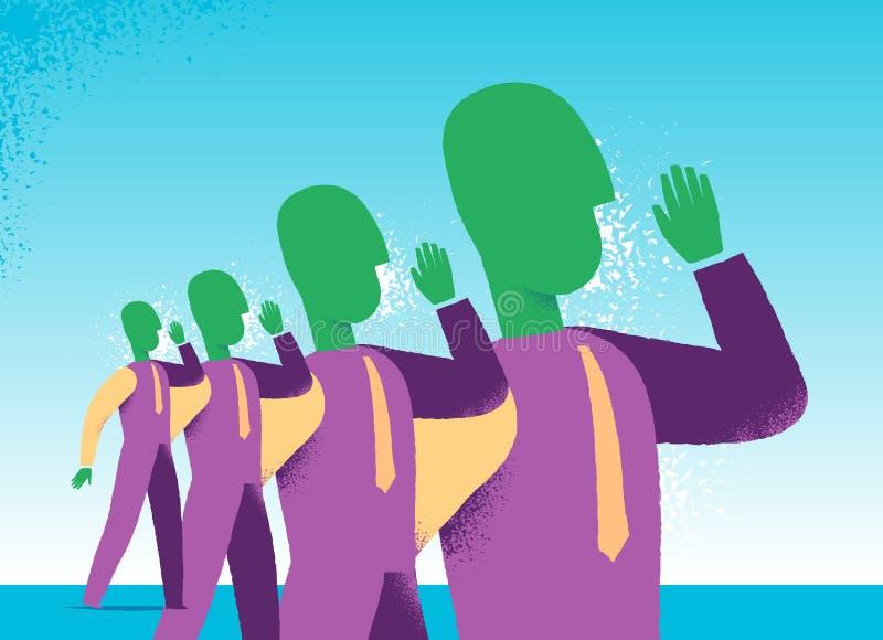 Messages de propagande de lancement de négociant à la société illustration de vecteur