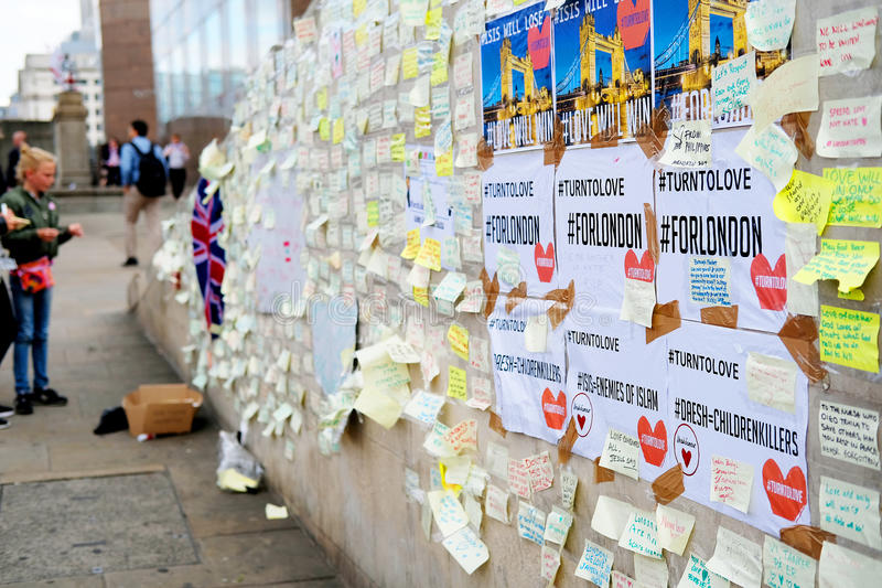 Messages and floral tributes to the victims of the London Bridge terrorist attacks. Floral tributes and messages placed in memory of those who were killed or royalty free stock photo