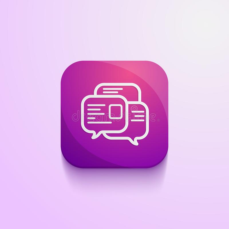 Messages icon app. With purple pink gradation color simple design with a little fading shadow royalty free illustration
