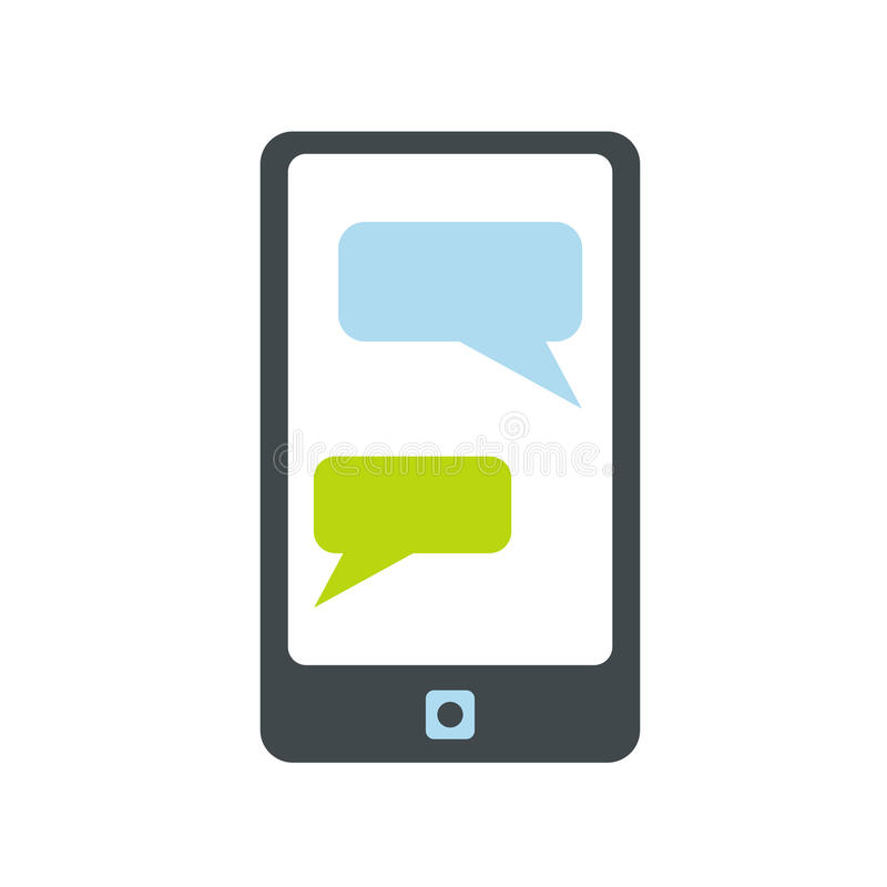 Messages on a phone icon. On white background vector illustration