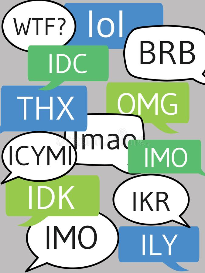 Messages. Text messages bubbles with popular modern abbreviations like lol, omg and wtf stock illustration