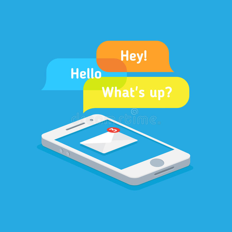 Messages on your phone. Mobile technology online communication, Messages on your phone stock illustration