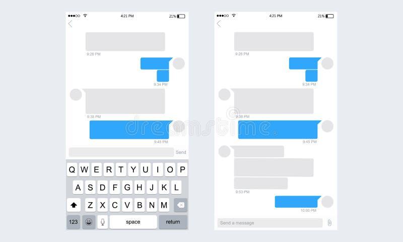 Messaggero mobile del corredo di UI illustrazione di stock