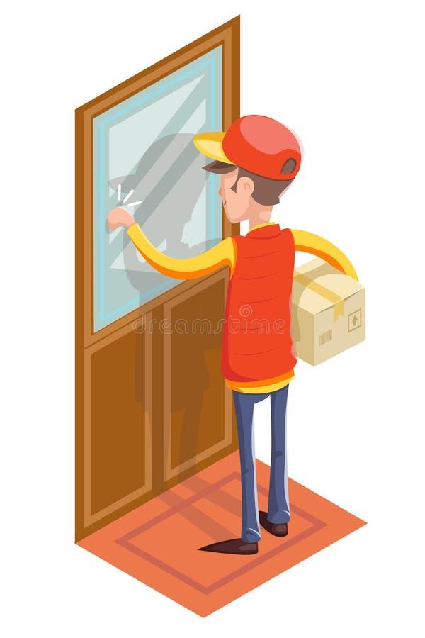 Messaggero preciso Cardboard Box Concept dell'uomo di Special Delivery Boy del corriere che batte all'icona isolata porta del cli illustrazione vettoriale