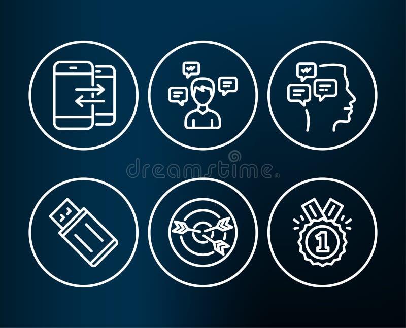 Messaggi, comunicazione del telefono ed icone di ottimizzazione Il Usb infiamma, messaggi di conversazione e segni approvati illustrazione vettoriale