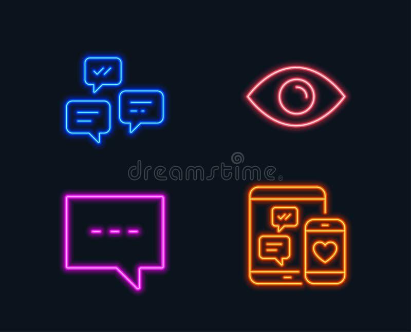 Messaggi di chiacchierata, del blog ed icone dell'occhio Segno sociale di media Chiacchieri il messaggio, la comunicazione, la vi illustrazione vettoriale
