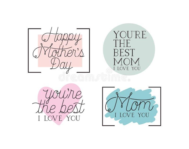 Messaggi felici di calligrafia dell'insieme di carta di giorno di madri illustrazione vettoriale