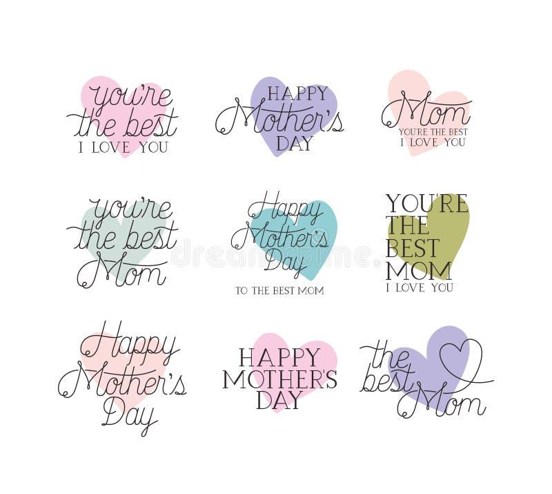 Messaggi felici di calligrafia dell'insieme di carta di giorno di madri royalty illustrazione gratis