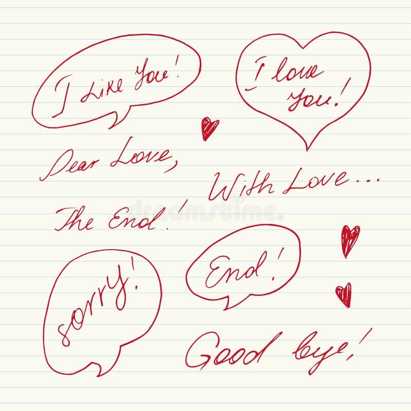Messaggi scritti a mano di amore illustrazione vettoriale