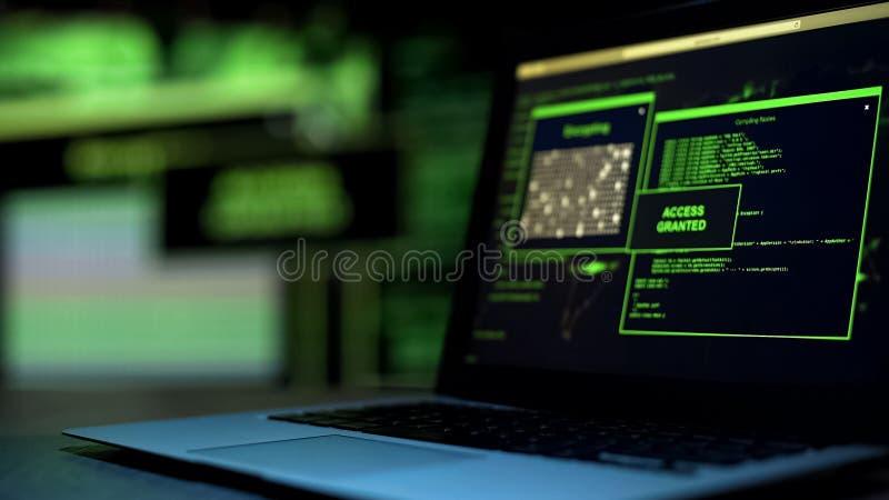 Messaggio Access assegnato scritto sullo schermo, telecomando non autorizzato del conto fotografia stock libera da diritti