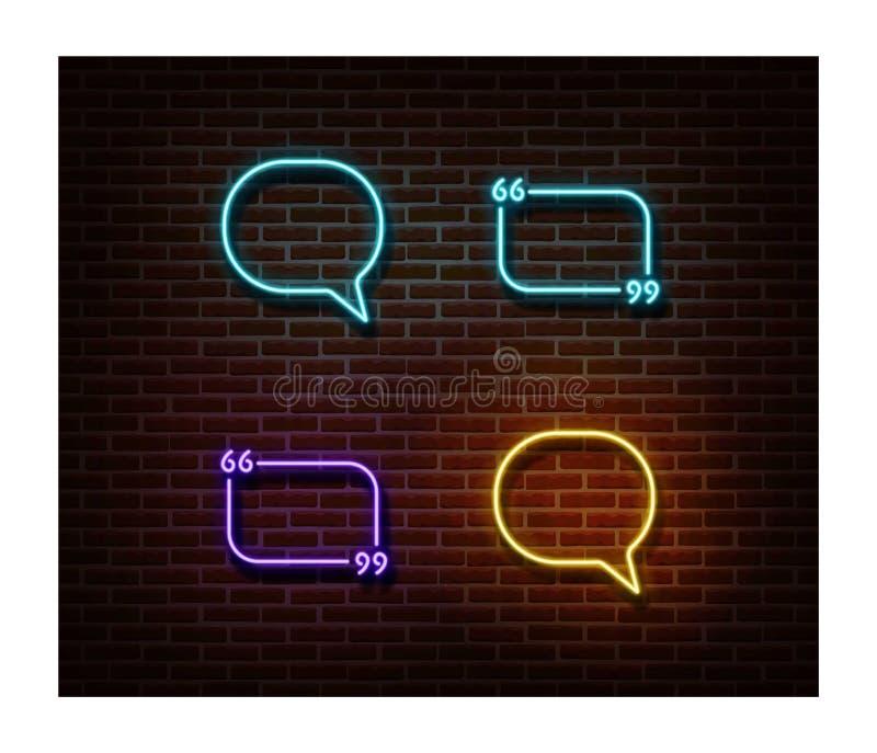 Messaggio al neon, chiacchierata, vettore dei segni di citazione isolato sul muro di mattoni Simbolo leggero mandante un sms, eff immagine stock libera da diritti
