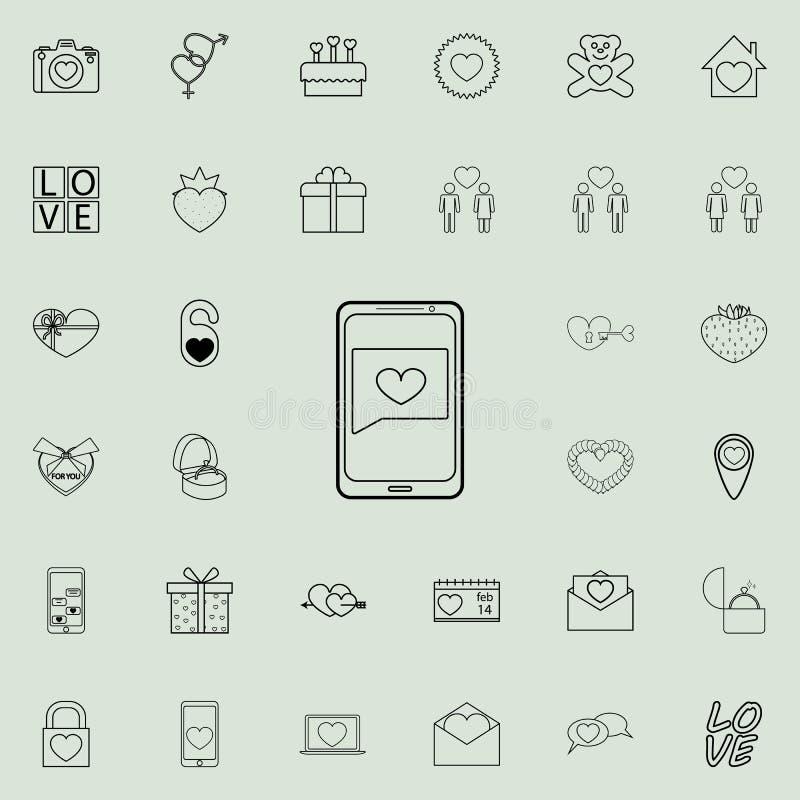 messaggio da un'icona di caro Insieme dettagliato delle icone del biglietto di S. Valentino Segno premio di progettazione grafica illustrazione di stock